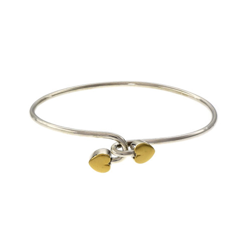Tiffany & Co Yellow Gold Sterling Silver Double Heart Bangle Bracelet