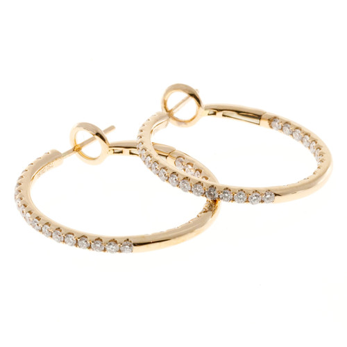 Pink Gold 18k Inside Out .90ct Diamond Hoop Earrings