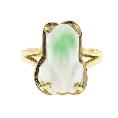 GIA Certified  Natural Green and White Jade Carved Frog Yellow Gold Ring