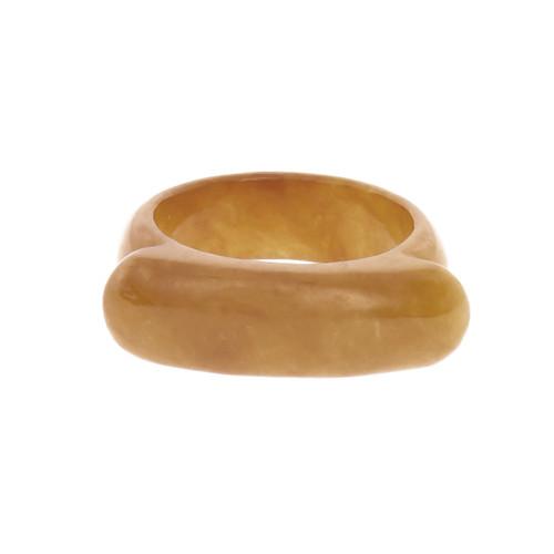 GIA Certified Natural Brown Orange Jadeite Jade Saddle Ring