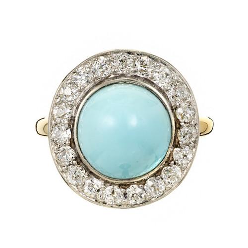 GIA Certified  Natural Turquoise Diamond Platinum Ring Platinum