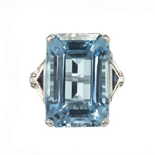 18.87 Carat  Aqua Diamond Sapphire platinum Ring