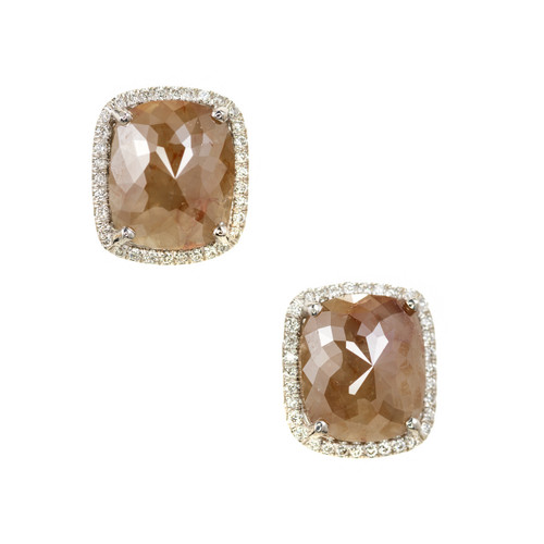 Peter Suchy 4.17 Carat Brown Cushion Diamond Halo Gold Stud Earrings