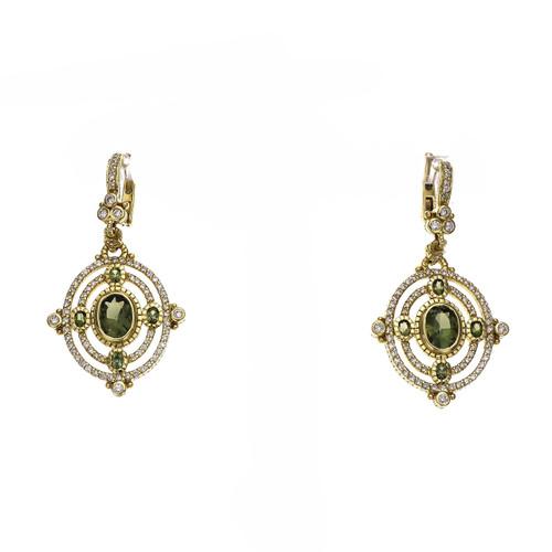 Judith Ripka 2.65 Carat Green Tourmaline Diamond Yellow Gold Dangle Earrings