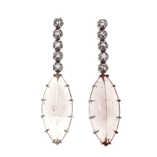 Peter Suchy 16.60 Carat Morganite Diamond White Gold Dangle Earrings