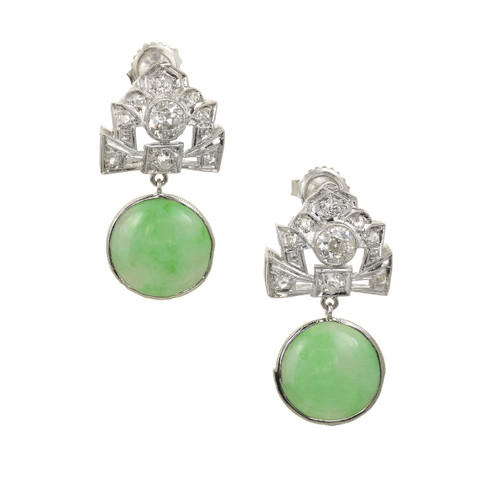 GIA Certified 10.89 Carat Jadeite Jade Diamond Platinum Dangle Earrings