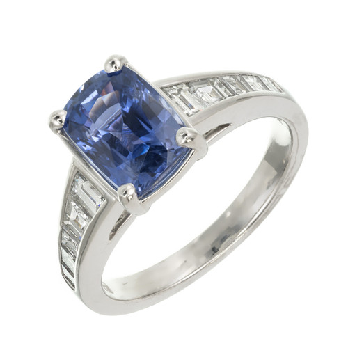 Sasha Primak 3.03 Carat Violet Blue Sapphire Diamond Platinum  Engagement Ring