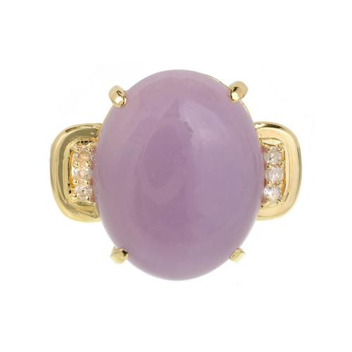 Purple Jadeite Jade Ring 14k Gold Diamond GIA Certified