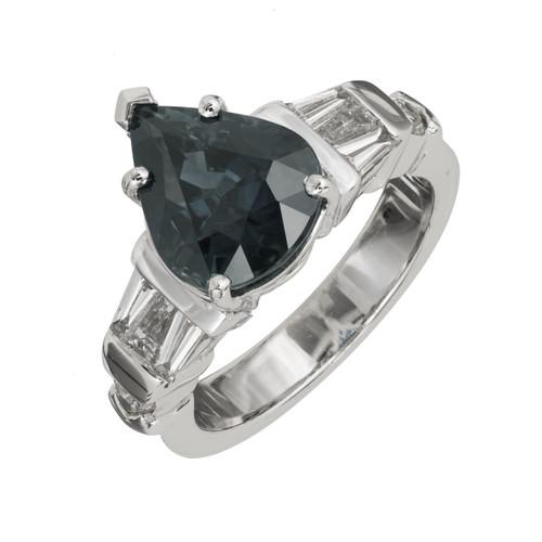 Peter Suchy 4.01 Carat Blue Sapphire Diamond Engagement Ring