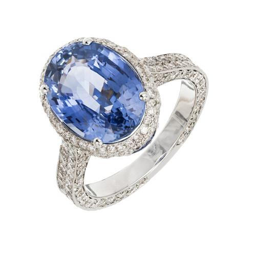 Peter Suchy 6.46 Carat Blue Sapphire Diamond Halo Gold Engagement Ring