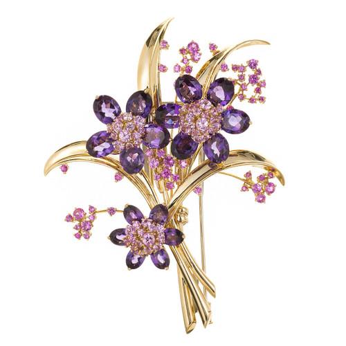 Van Cleef & Arpels 8.00 Carat Pink Sapphire Amethyst Flower Yellow Gold Brooch