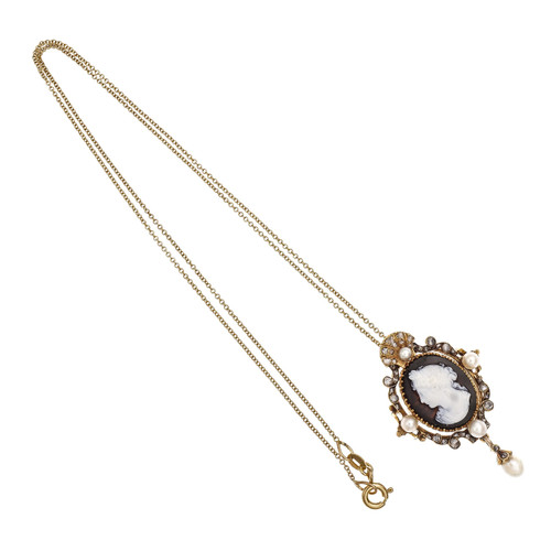 Victorian .20 Carat Diamond Pearl Carved Hardstone Yellow Gold Pendant Necklace