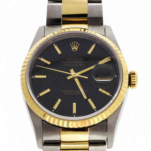 Rolex Datejust 18k Gold Steel Black Pin Stripe Dial Oyster Band 16233
