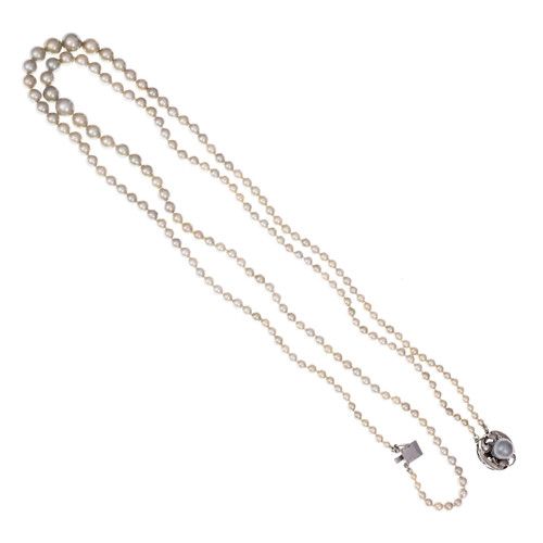 Two Strand Silver Gray Graduated Cultured Pearl White Gold Necklace 14k Cecil