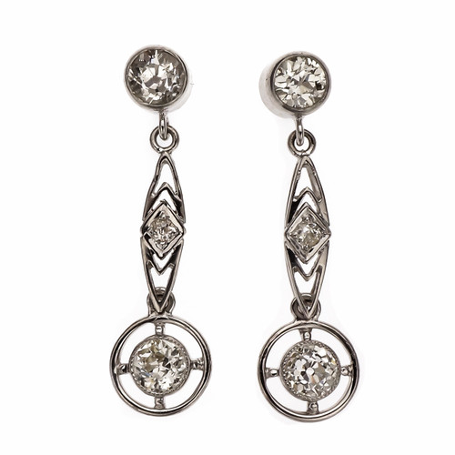Art Deco .69 Carat Diamond Platinum  Dangle Earrings