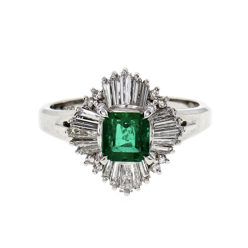 .56 Carat Emerald Diamond Platinum Ballerina Ring