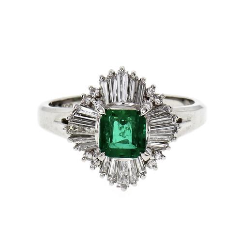 .56 Carat Emerald Diamond Platinum Ballerina Ring