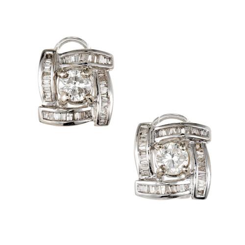 1.20 Cart Diamond White Gold Halo Earrings