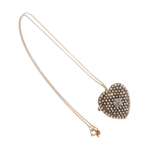 Victorian .15 Carat Diamond Pearl Rose Gold Heart Brooch