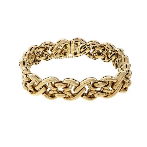 Vintage Heavy Italian Yellow Gold Fancy Link Bracelet