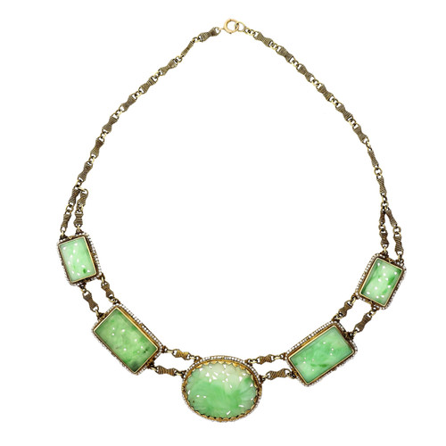 Victorian Jadeite Jade Pearl Yellow Gold Necklace