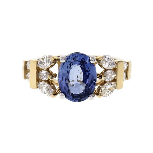 Peter Suchy 3.11 Carat Blue Sapphire  Diamond Yellow Gold Ring