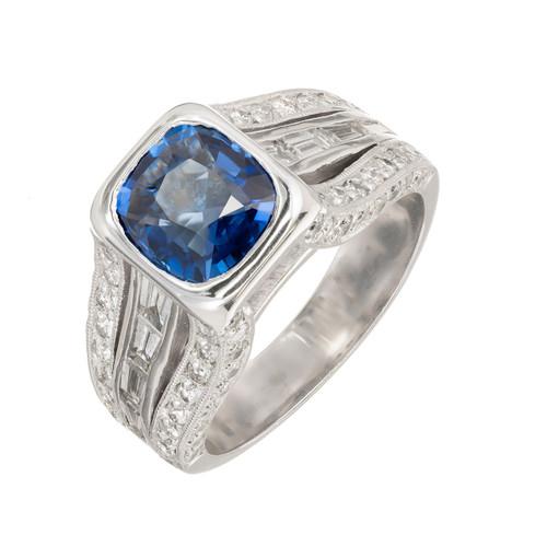 Peter Suchy GIA Certified 1.98 Carat Sapphire Diamond Platinum Ring