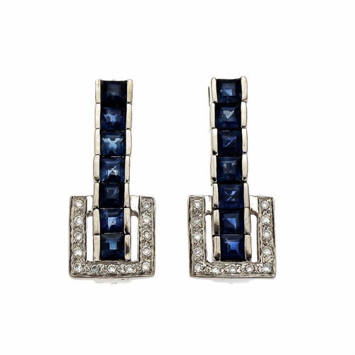 2.50 Carat Blue Sapphire Diamond White Gold Buckle Dangle Earrings