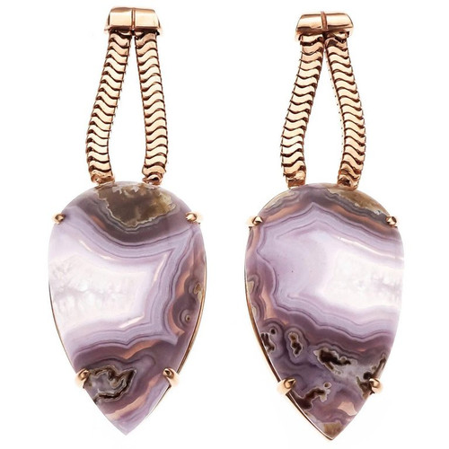 Peter Suchy 27.35 Carat Large Agate Rose Gold Dangle Earrings