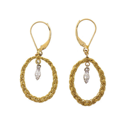 .19 Carat Diamond Yellow White Gold Dangle Earrings