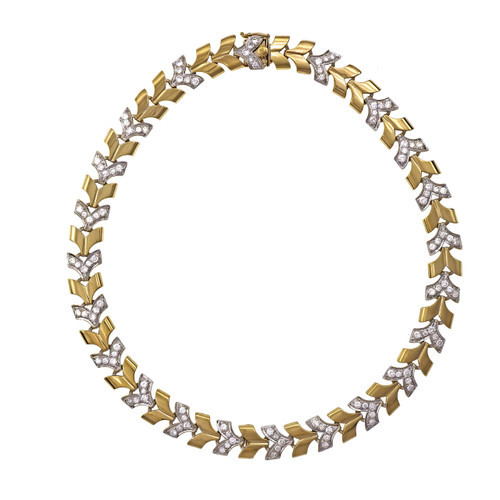 "3.30 Carat Diamond Yellow & White Gold ""V"" Link Necklace"