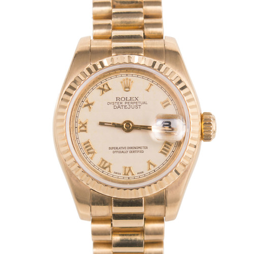 Ladies Rolex 18k Yellow Gold President 179178 Rare Textured Dial