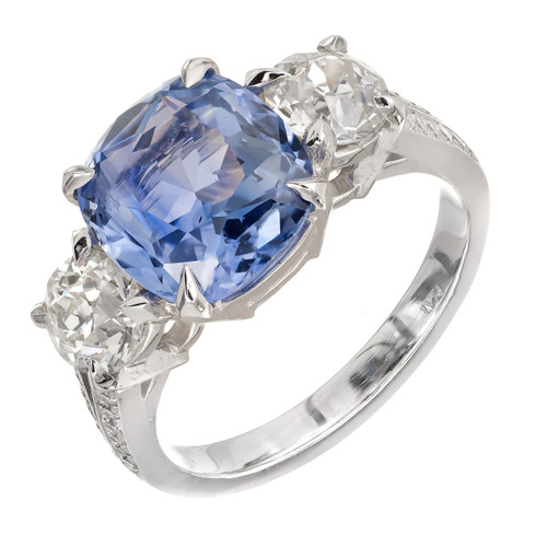 Peter Suchy 4.34 Carat Blue Sapphire Diamond Platinum Three Stone Engagement Ring