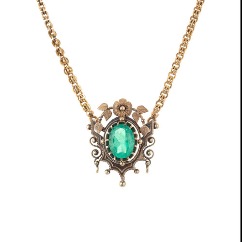 GIA Certified Victorian 4.50 Carat Emerald Yellow Gold Pendant Necklace