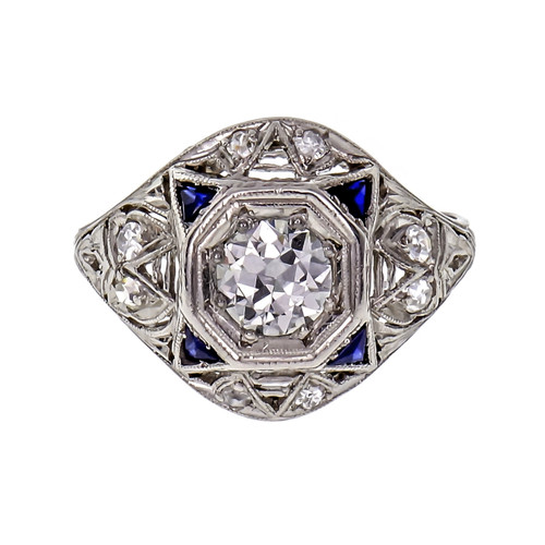 .60 Carat Diamond Blue Sapphire Platinum Dome Triangle Ring