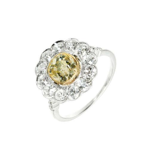 Victorian 1900 1.39ct Natural Fancy Light Yellow Old Mine Diamond Platinum Ring