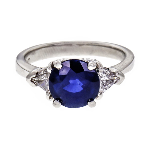 Peter Suchy 2.00 Carat Blue Sapphire Diamond Platinum Engagement Ring