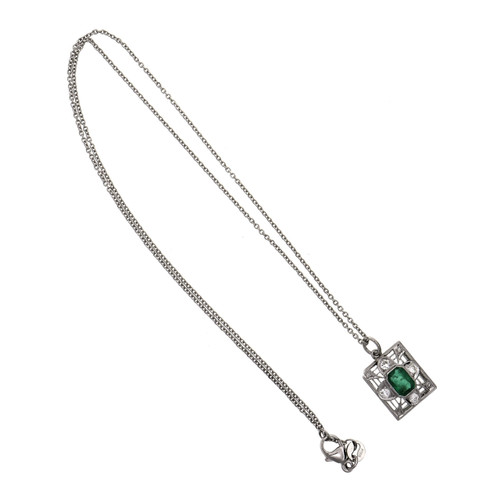 Art Deco .53 Carat Emerald Diamond Platinum Pendant Necklace