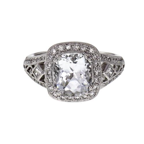 2.18 Carat Aqua Diamond White Gold Ring