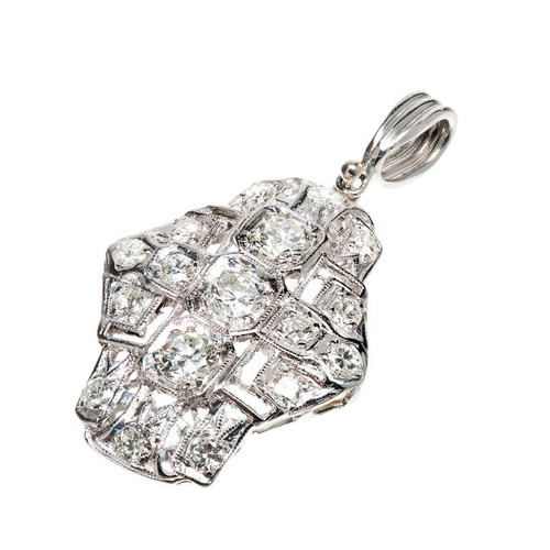 European Cut Diamond Platinum Pendant c1940