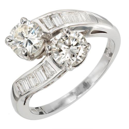 "1.73 Carat Diamond Platinum Bypass  ""Ever Us"" Style Ring"