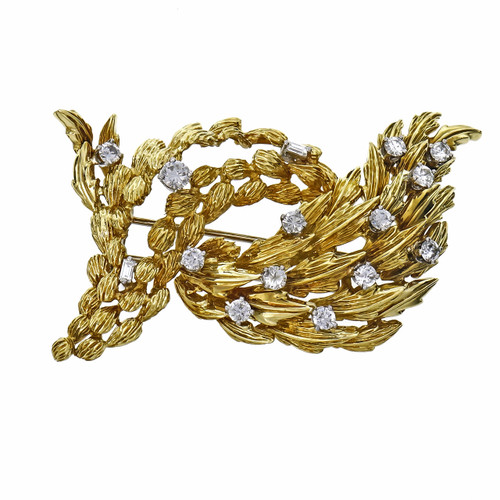 1.30 Carat Diamond Yellow Gold Textured Brooch