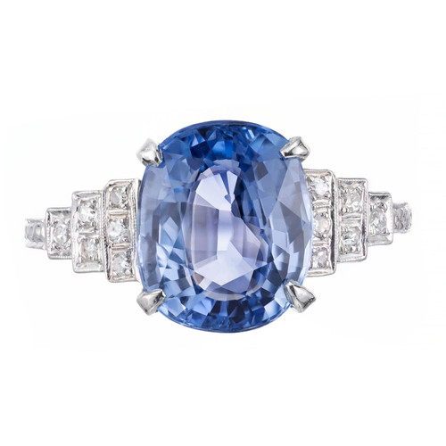 GIA Certified Art Deco 4.51 Carat Sapphire Diamond Platinum Engagement Ring