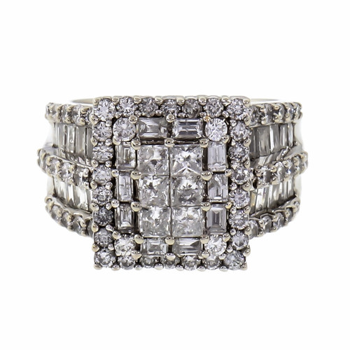 3.00 Carat Diamond White Gold Cluster Ring