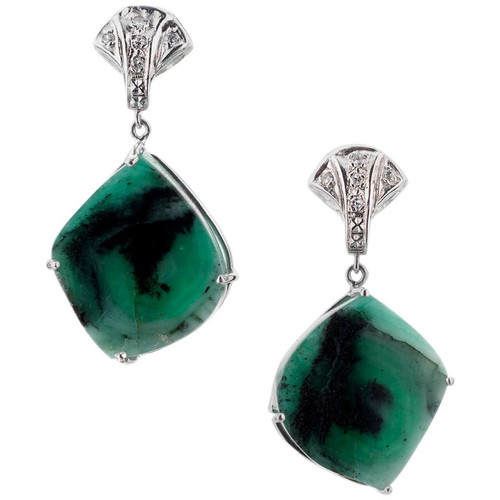 Peter Suchy GIA Certified 8.50 Carat Emerald Diamond Platinum Dangle Earrings