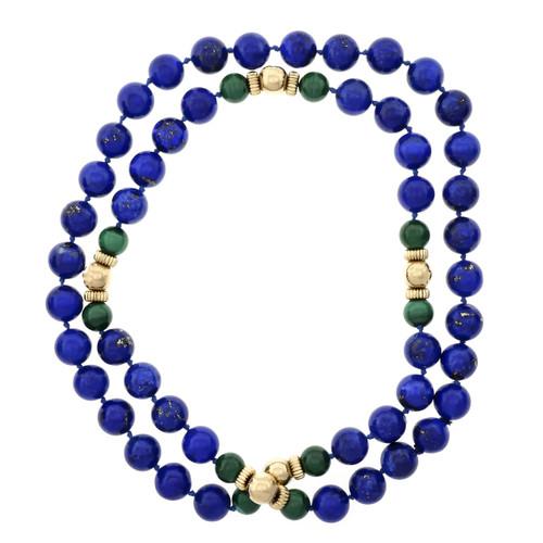 GIA Certified 1950 Lapis Lazulli  Malachite Yellow Gold Necklace