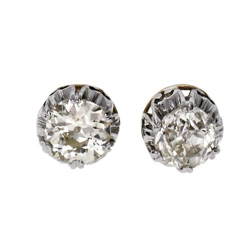 1.59 Carat Diamond Platinum Yellow Gold Stud Earrings