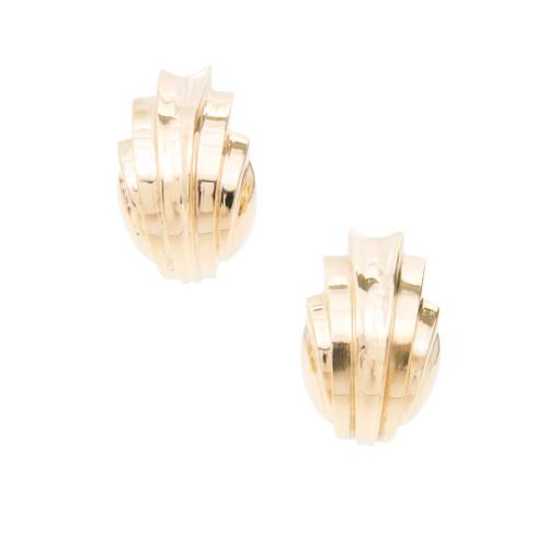 Estate Bold 14K Italian Chevron Design Earrings. <br><br>