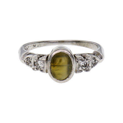 1.20 Carat Chrysoberyl Cat's Eye Diamond Platinum Engagement Ring