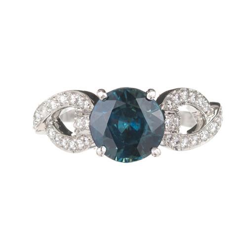 Peter Suchy 2.70 Carat Sapphire Diamond Platinum Engagement Ring